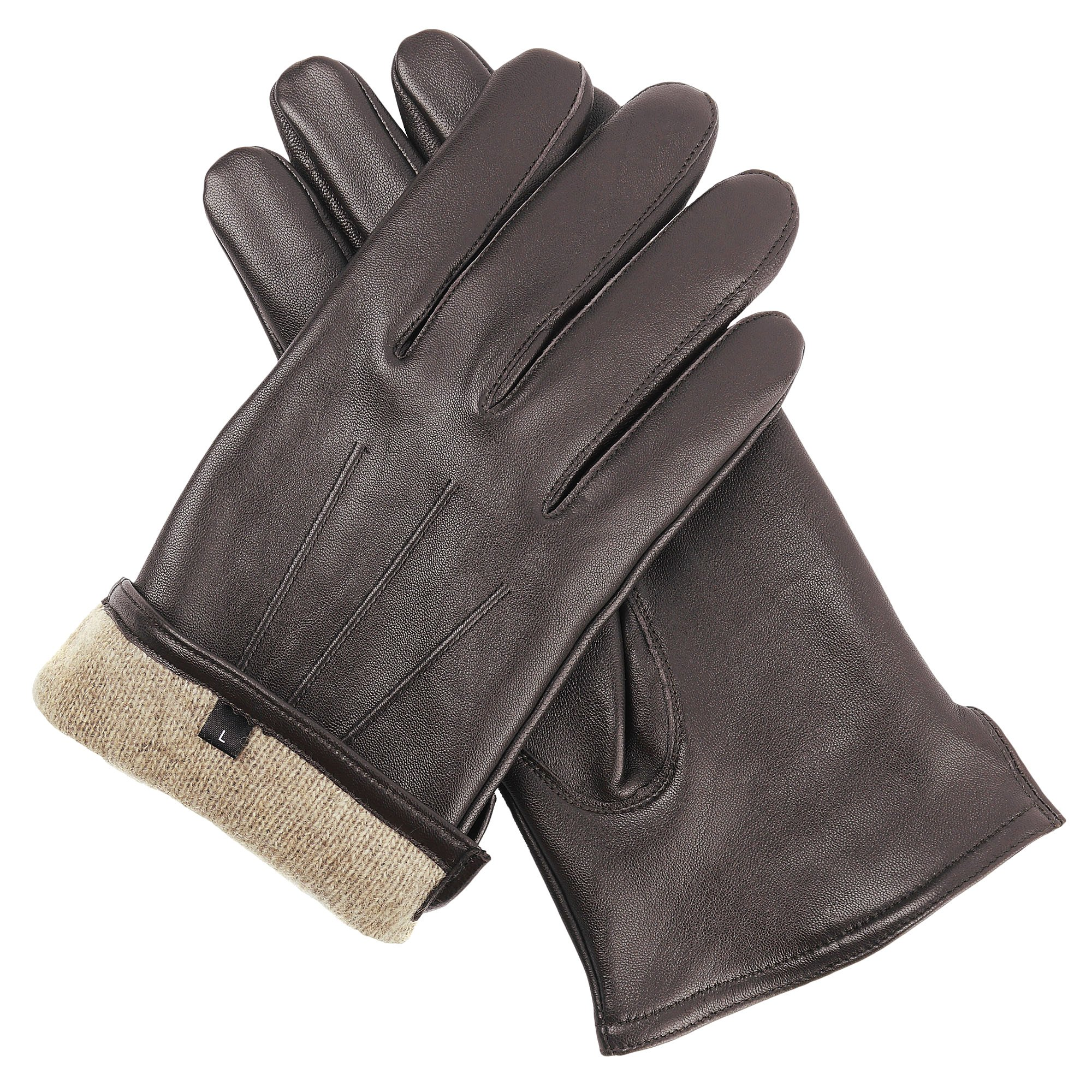 Candor and Class Men's Sheepskin Leather Gloves with Cashmere Lining (Brown, Medium)