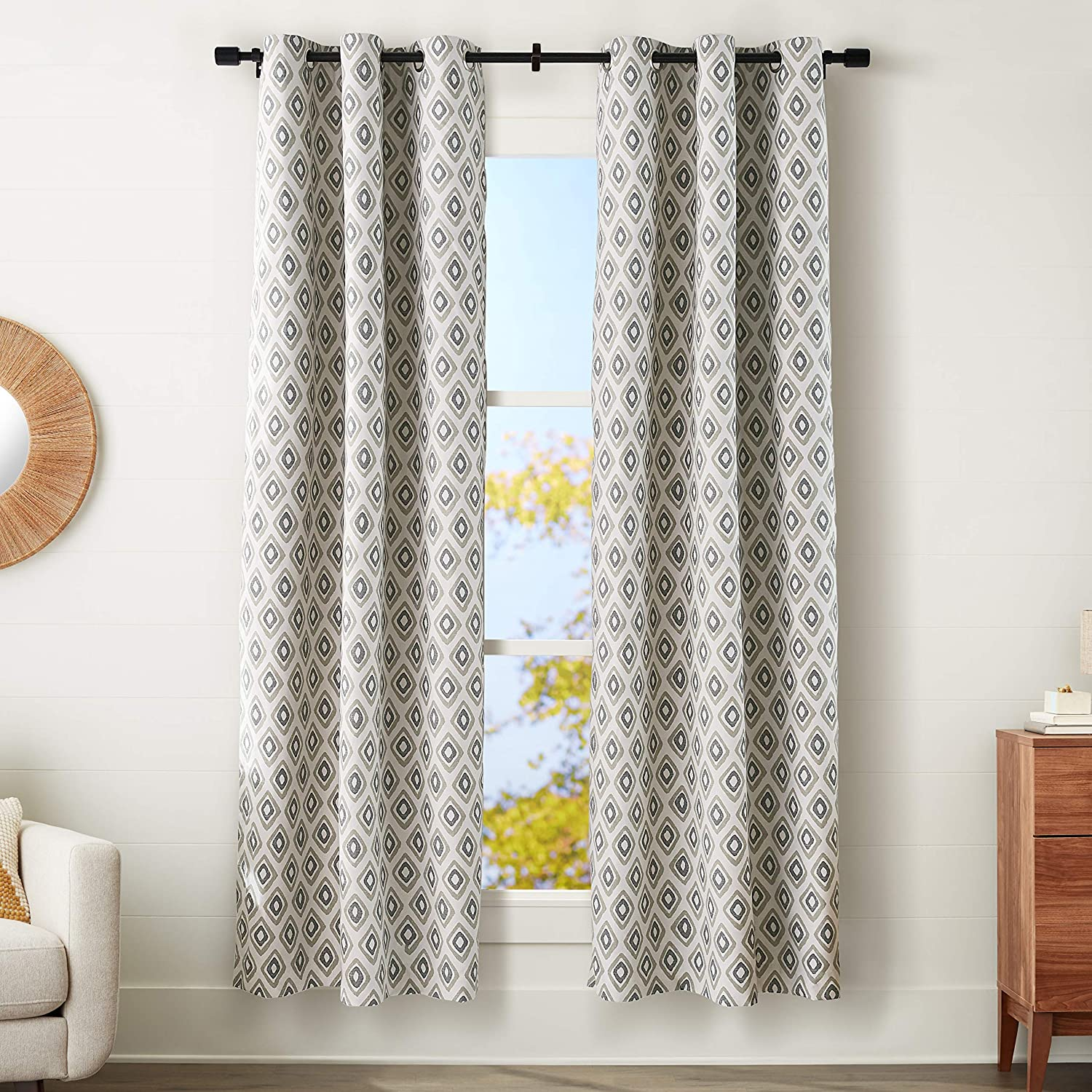 "AmazonBasics 100% Blackout Silky Soft Fabric Window Panel with Grommets and Thermal Insulated, Noise Reducing Blackout Liner - 42"" x 95"", Neutral Tribal Diamond"