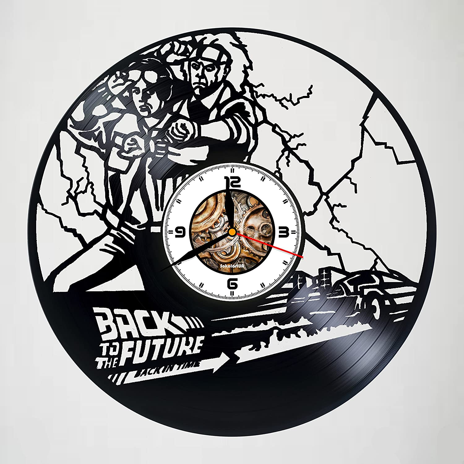 Back to the Future - Movie – Handmade Vinyl Record Wall Clock - Get unique garage wall art décor - Gift ideas for men, father, boyfriend – Unique comics art design – Customize your clock !