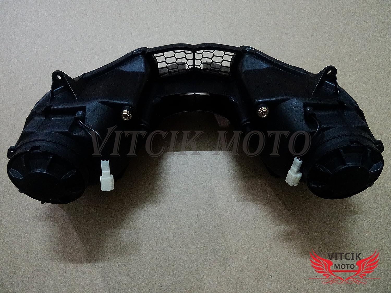 VITCIK Motorcycle Headlight Assembly for Yamaha YZF600 R6 2003 2004 2005 YZF-600 YZF 600 R6 03 04 05 Head Light Lamp Assembly Kit Black