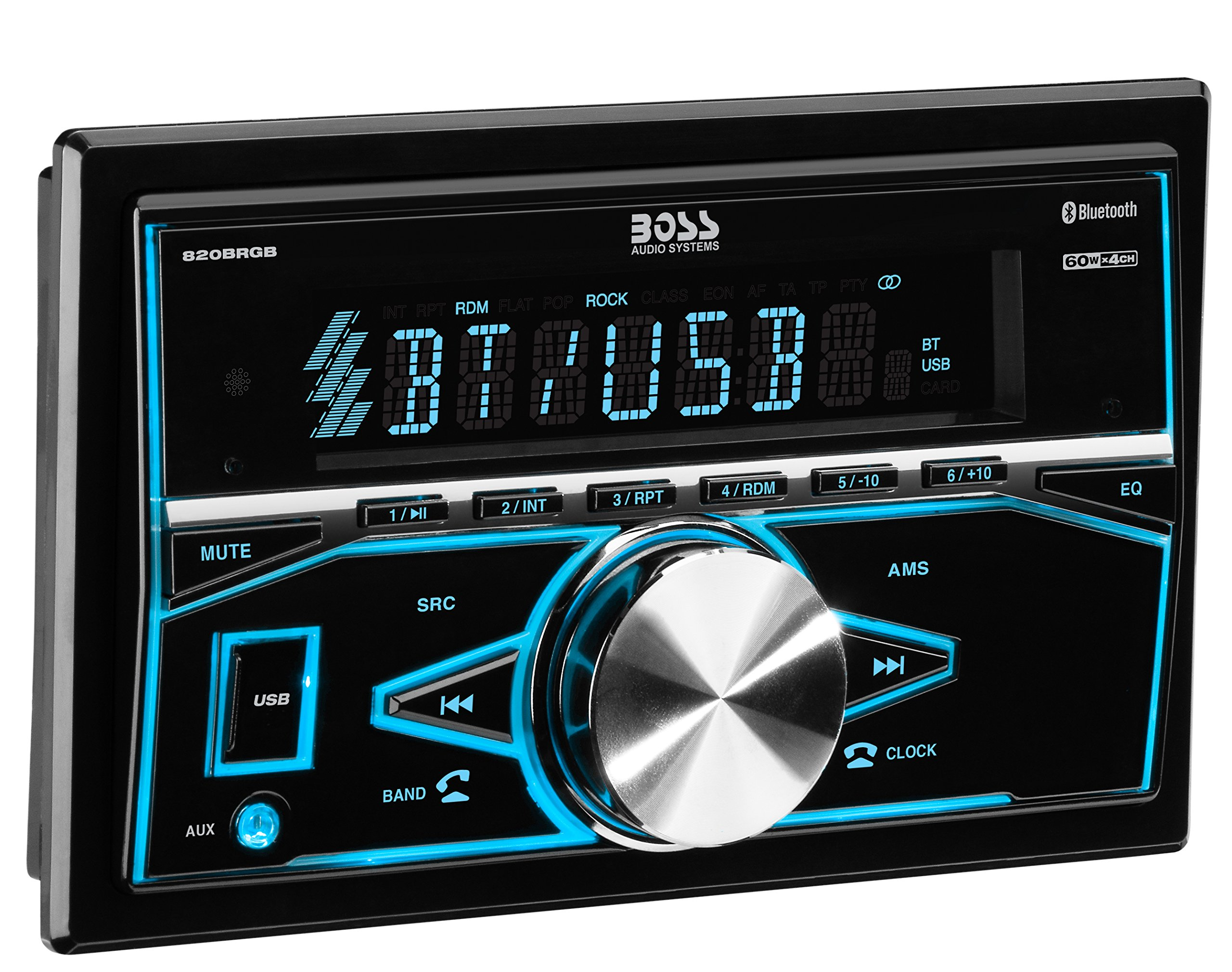 BOSS Audio 820BRGB Multimedia Car Stereo – Double Din, Bluetooth Audio and Hands-Free Calling, MP3 Player, USB Port, AUX Input, AM/FM Radio Receiver, (No CD/DVD), Multi Color Illumination