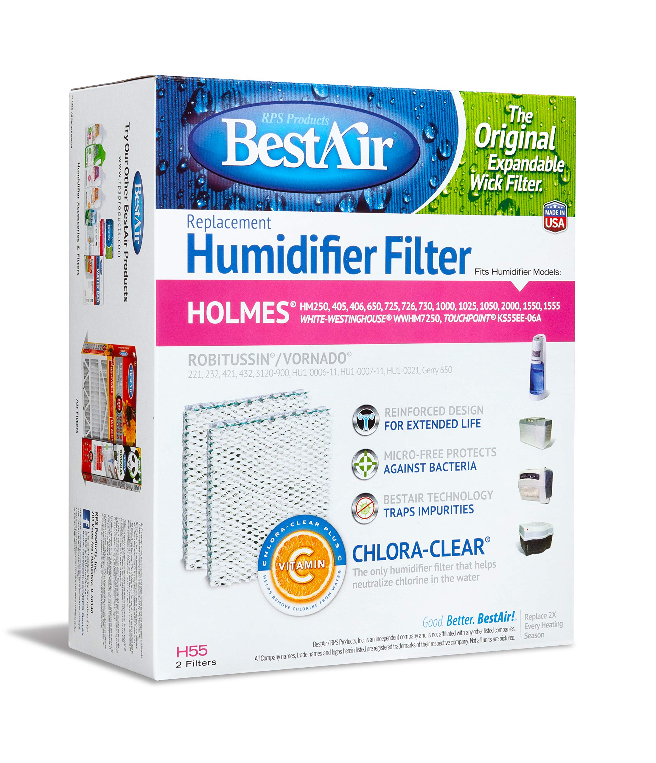BestAir H55 Extended Life Humidifier Replacement Paper Wick Humidifier Filter, For Holmes, Vornado, Gerry, and Touch Point Models, 7.5'' x 3.5'', 9.125'', 6 Pack (12 Filters) by BestAir