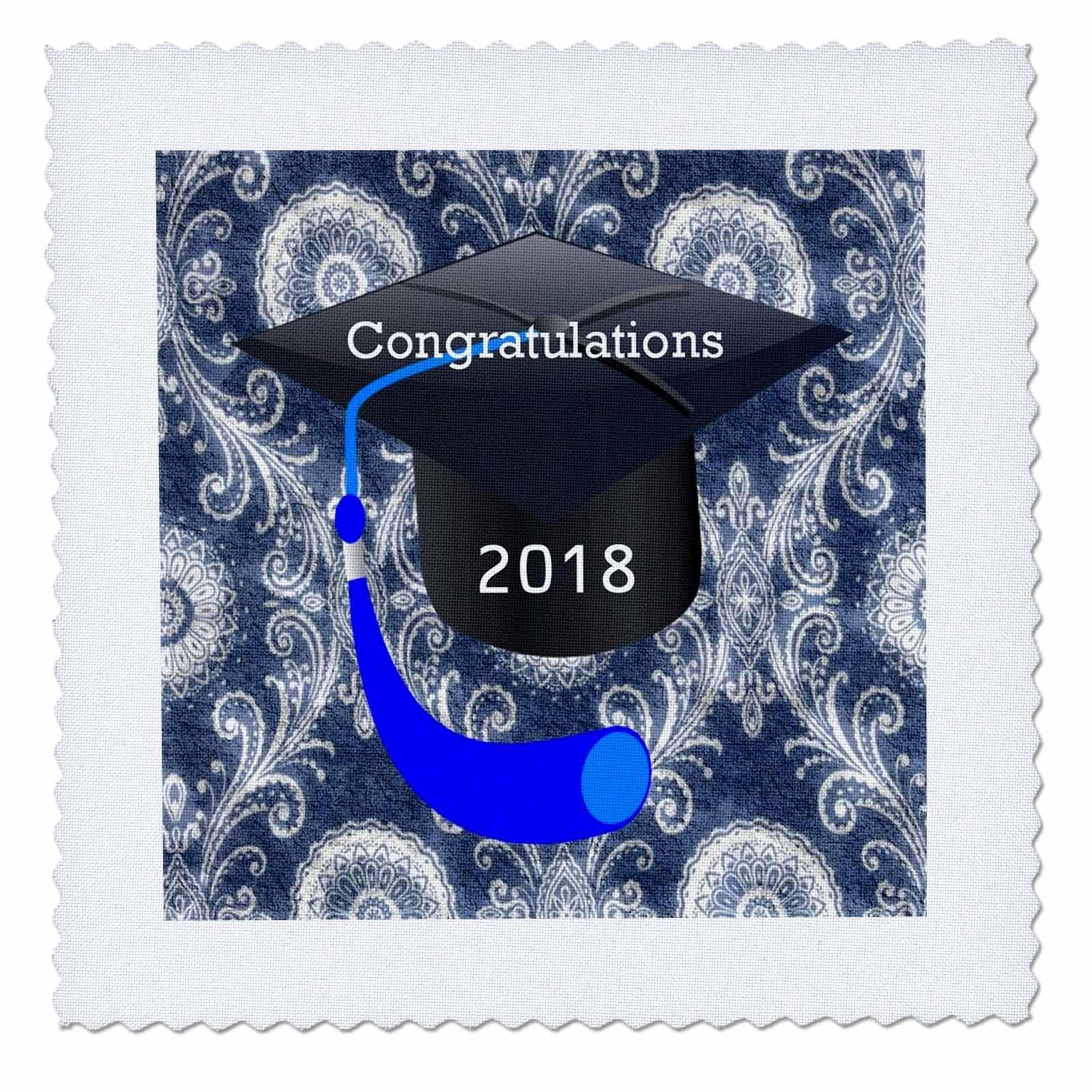 3dRose Graduation - Image of Congratulations Black Cap Blue Tassel Blue Damask - 16x16 inch quilt square (qs_266444_6)