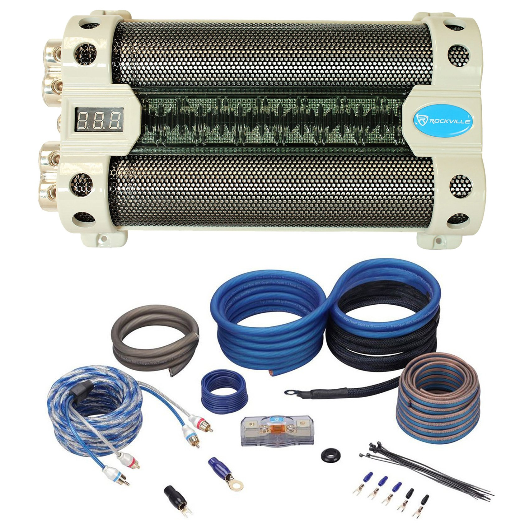Package: Rockville RFC30F 30 Farad Capacitor With Blue Backlit Voltage Display and Built In Distribution Block + Rockville RWK4CU 100% Copper Full-Spec 4 AWG Complete Car Amplifier Installation Kit