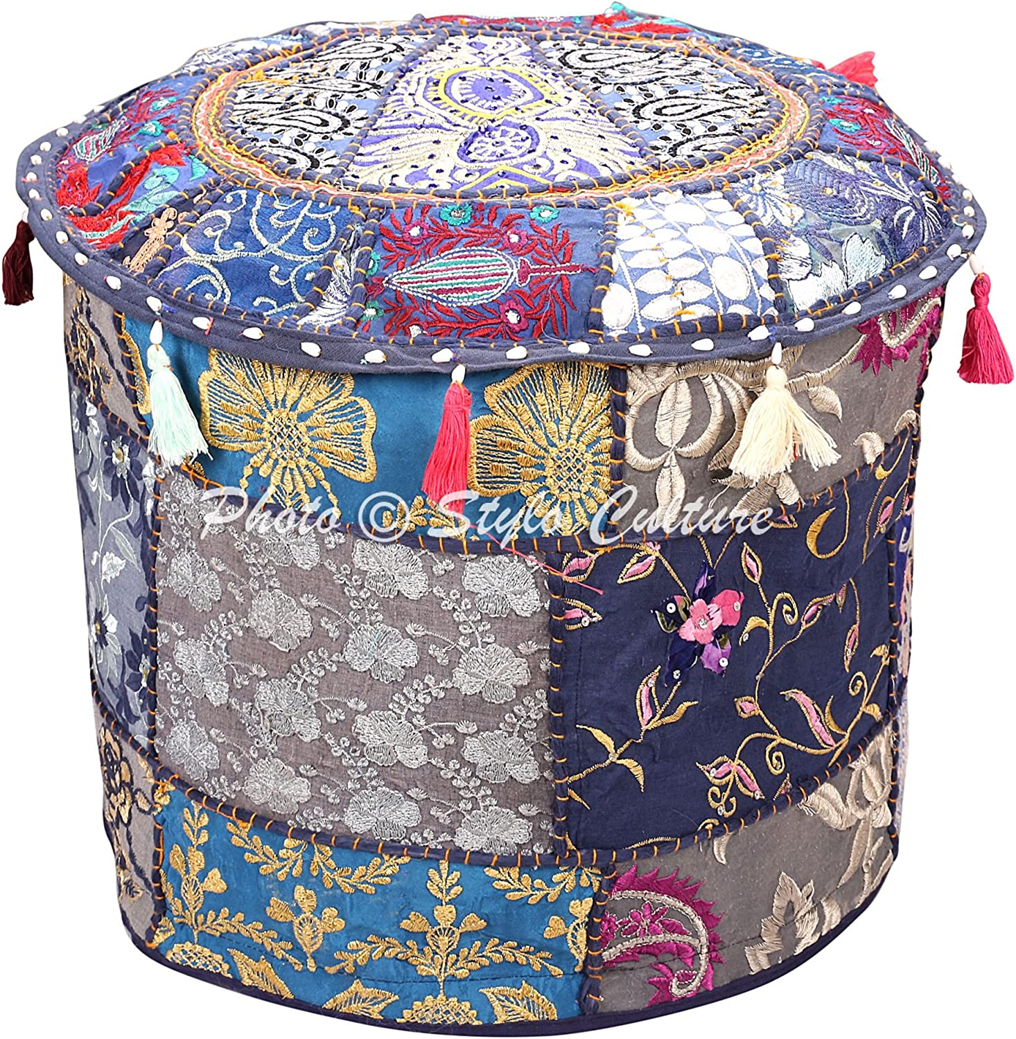 Stylo Culture Indian Pouffe Footstool Cover Round Patchwork Embroidered Pouf Ottoman Blue Cotton Floral Traditional Furniture Seat Puff (16x16x13) Bean Bag Home Decor