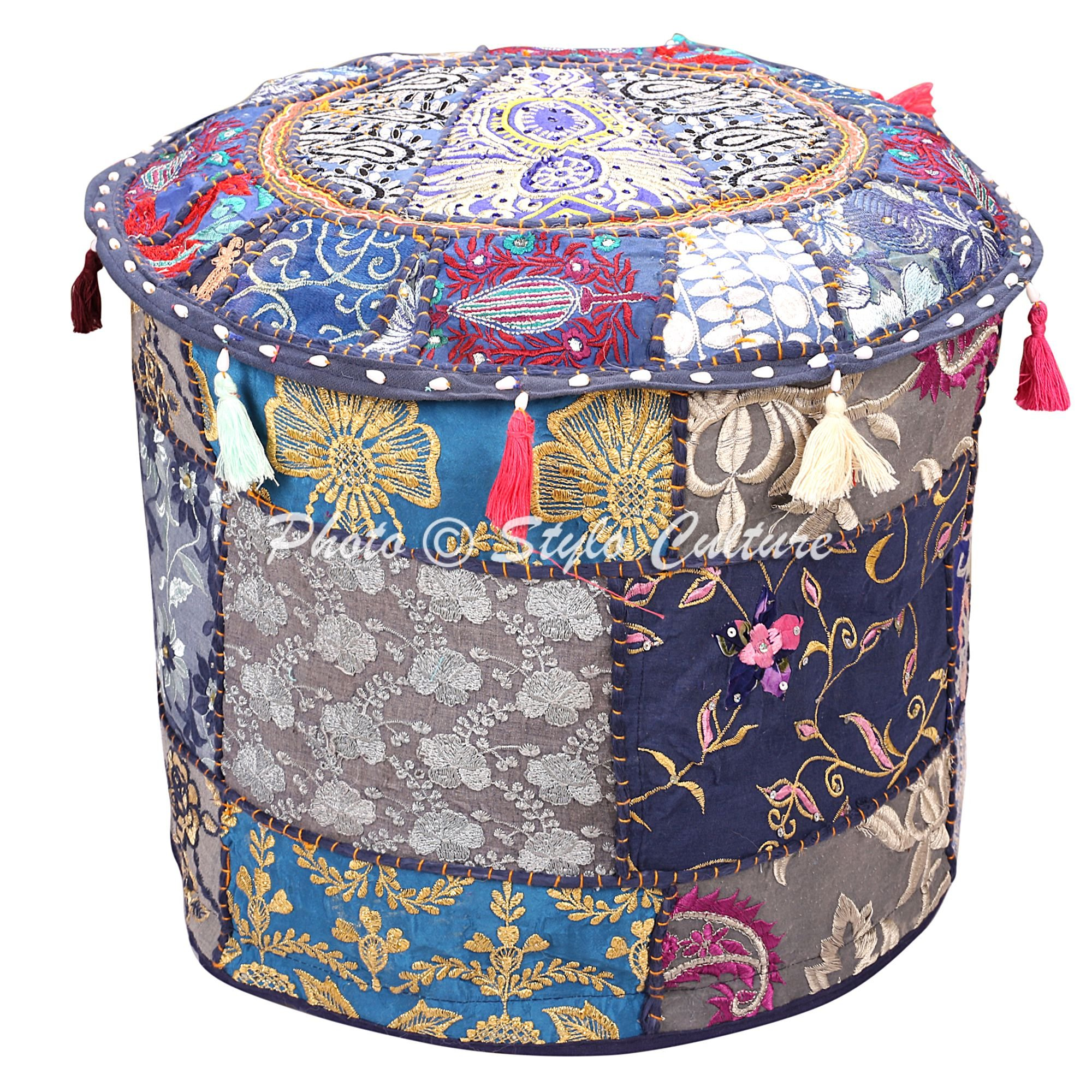 Stylo Culture Ethnic Ottoman Cover Round Indian Patchwork Embroidered Pouffe Ottoman Cover Blue Cotton Floral Traditional Furniture Footstool Seat Puff Cover (18x18x13) by Stylo Culture