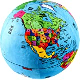 """Attatoy Love-the-Earth Plush Planet Globe; 13"""" Educational World Stuffed Toy with Geo-Political Markings"""