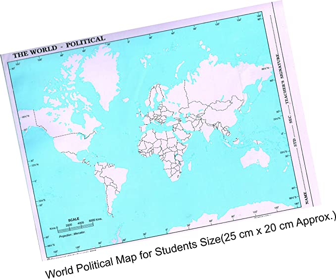 Imprint The World Political Practice Map A4 Size Set Of 100