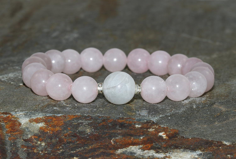 Pulsera de Piedra de luna de 10 mm y Cuarzo Rosa de 8 mm pulsera de piedras preciosas naturales de grado AA Joyería Yoga Curativa Yoga Pulsera para Chica Mujer