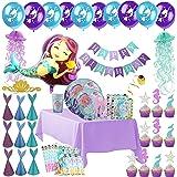美人鱼派对用品 - 完整的餐具和装饰豪华套装 - 盘子、杯子、餐具、餐巾、桌布、气球、生日横幅、水母、纸杯蛋糕装饰、礼品袋和帽子 Purple, Teal, Aqua, Pink, Lavender, Green 每包10条