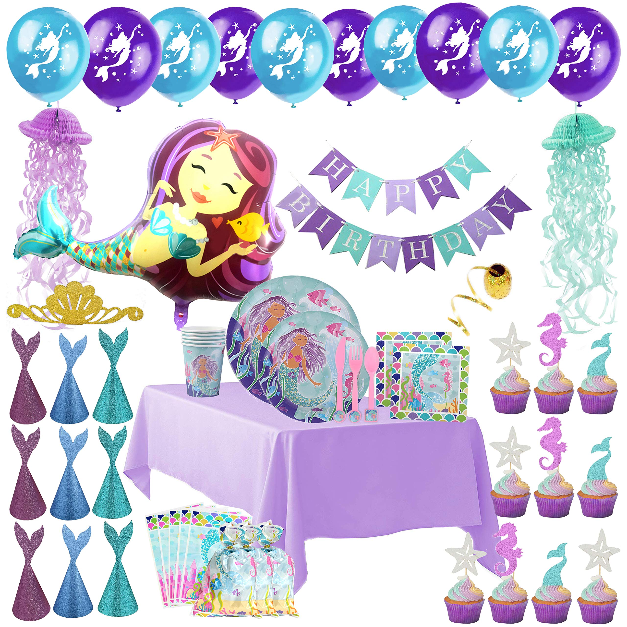 Mermaid Party Supplies - Complete Tableware and Decoration Deluxe Set - Plates, Cups, Utensils, Napkins, Table Cloth, Balloons, Happy Birthday Banner, Cupcake Topper, Favor Bags, Mermaid Hats & Crown