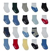 Little Me 20 Pair Pack Unisex Baby Infant Newborn Boys Anklet Socks in Gift Box Set, Textured, Multi, 0-12/12-24 Months