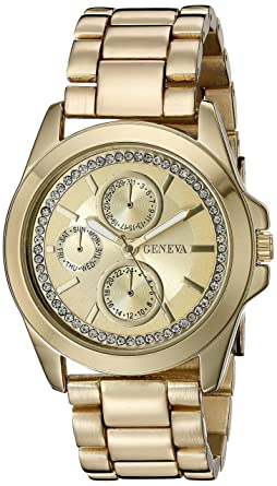 Geneva Womens FMDJM123 Analog Display Quartz Gold Watch