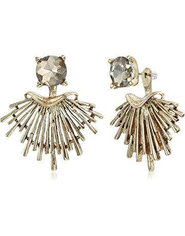 df8a02020ddb94 Badgley Mischka Champagne Round and Metal Jacket Earrings, Gold
