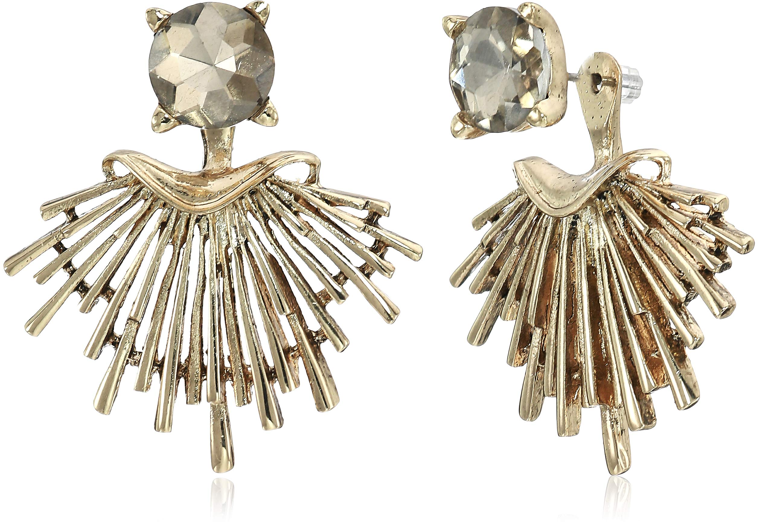 Badgley Mischka Champagne Round and Metal Jacket Earrings, Gold