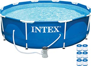 "Intex 10' x 30"" Metal Frame Above Ground Swimming Pool w/ 330 GPH Pump & Filters"