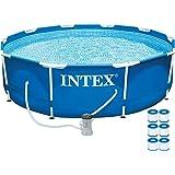 "Intex 10' x 30"" Metal Frame Set Swimming Pool w/ 330 Gph Pump & 6 Pack Filters"