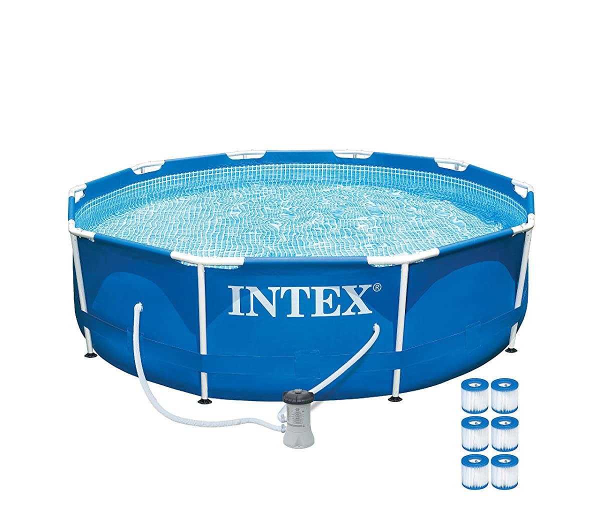 "Intex 10 x 30"" Metal Frame Set Swimming Pool with 330 GPH Pump & 6 Pack Filters"