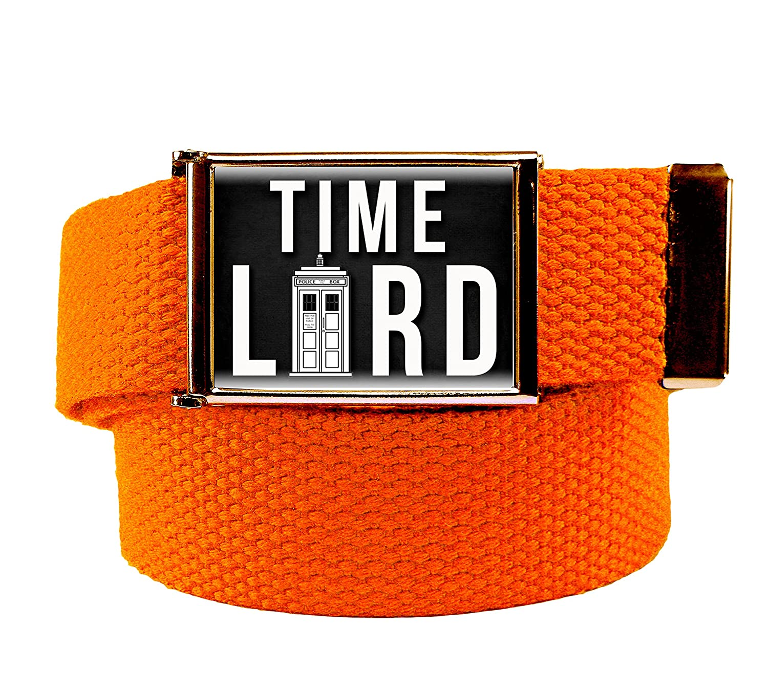 Time Lord Mens Flip Top Bottle Opener Belt Buckle with Canvas Web Belt XXX-Large Red
