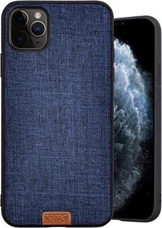 Noziroh Jeans Cover Stoffa Originale Compatibile con iPhone 11 PRO Max Case Tessuto Denim Fibra Antiurto Navy Blu