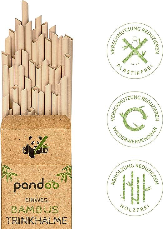 pandoo Pajitas Desechables, 50 Unidades, de bambú y Fibras ...