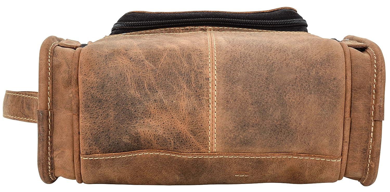 Gusti Cuir studio trousse de toilette d/épliable vanity pochette produits de beaut/é homme femme cuir de buffle marron 2H30-20-5wp