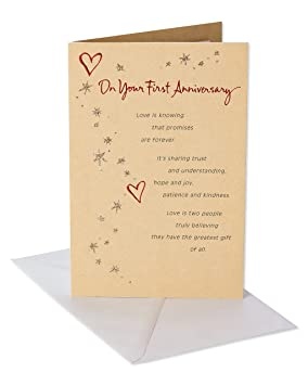 Amazon.com : American Greetings First Anniversary Card for Couple with Glitter : Office Products