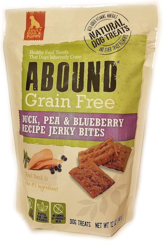 Abound Grain Free Duck, Pea, Blueberry Recipe Jerky Bites Dog Treat, 12 oz