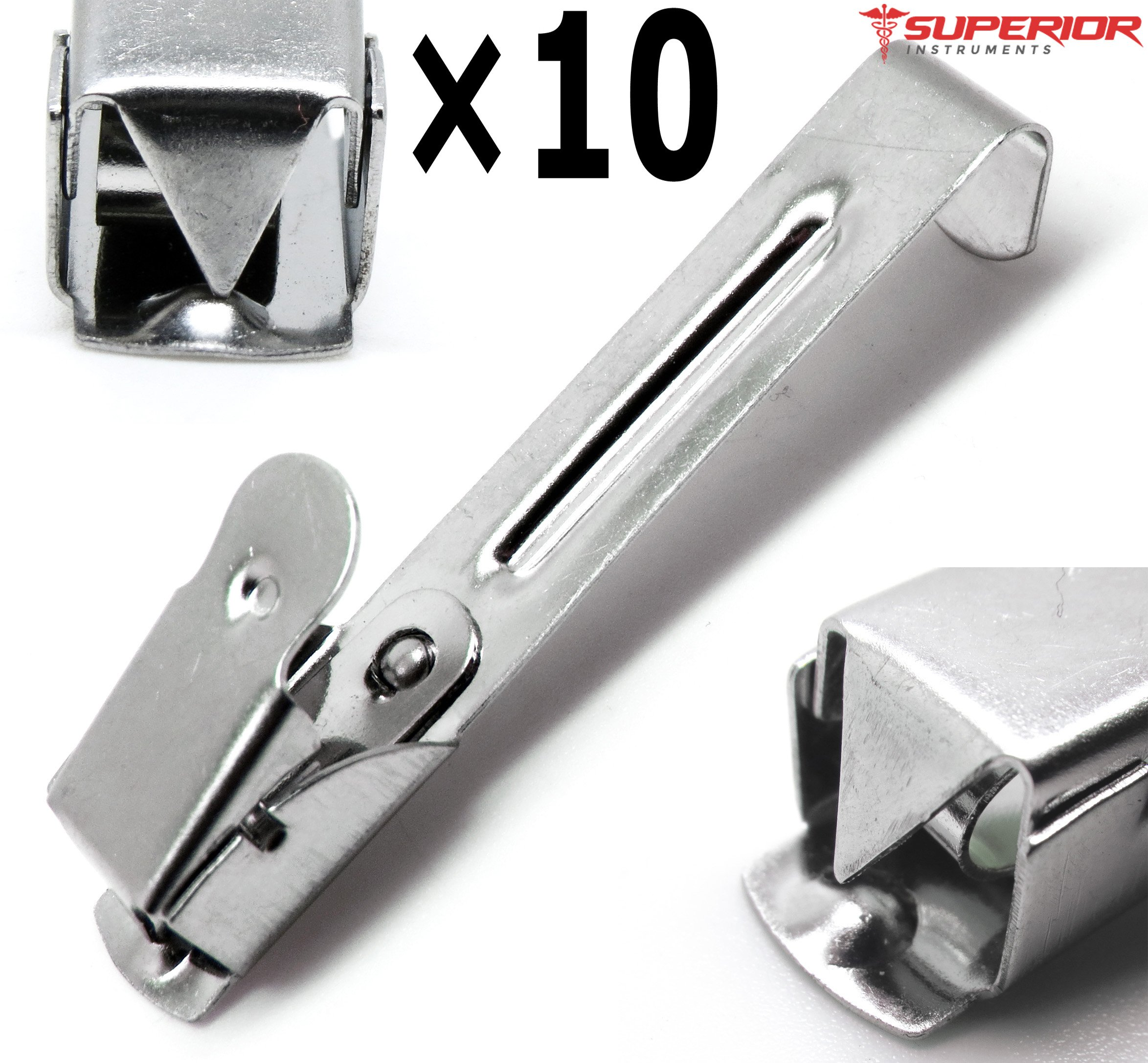 10 Pcs Dental Medical X-Ray film hanger Clip 2.2'' Stainless Steel Superior Instruments