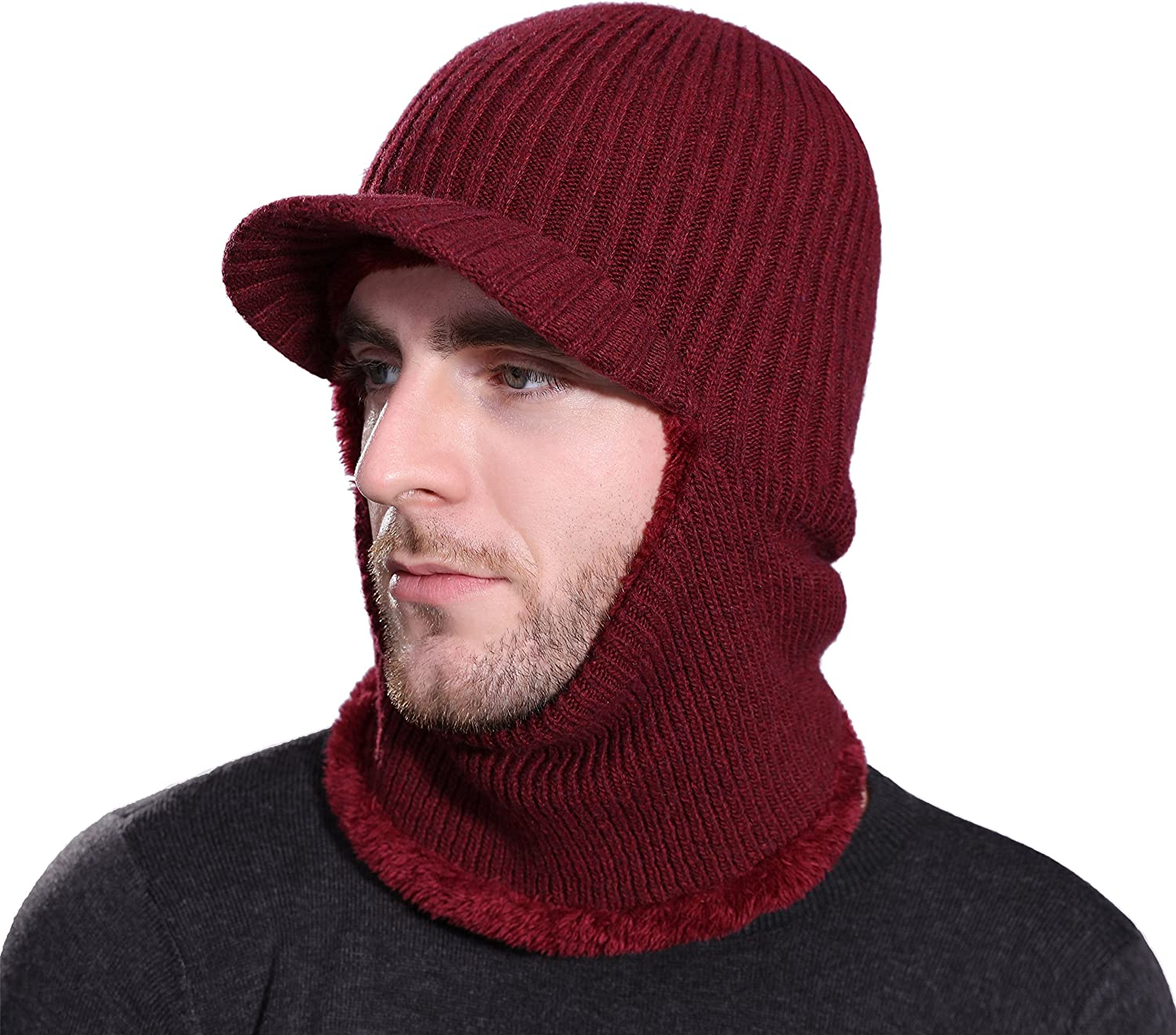 Runtlly Winter Neck Warmer Hat Tuque Visor Beanie Ear Warmer Face Cover