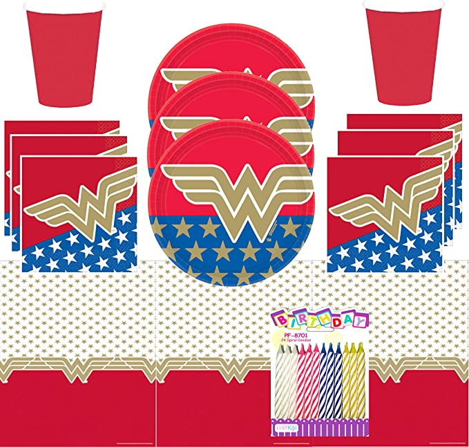 DC Super Hero Girls Birthday Party Pack Purses Plates Napkins Table Cover 40 pcs