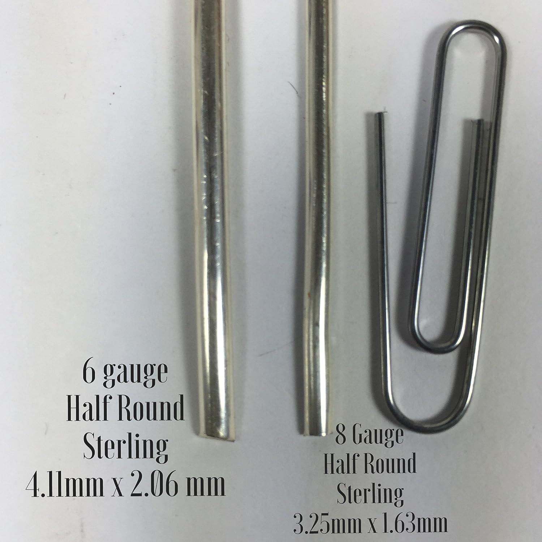 Amazon.com: 6 gauge half Round sterling silver wire 1 ft., 4.11 mm x ...