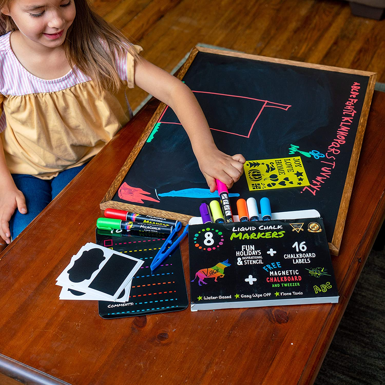 Chalk Markers by Vaci, Pack of 8 + Magnetic Chalkboard + Drawing Stencils + 16 Labels, Premium Liquid Chalkboard Neon Pens, Bullet or Chisel Reversible Tips : Office Products