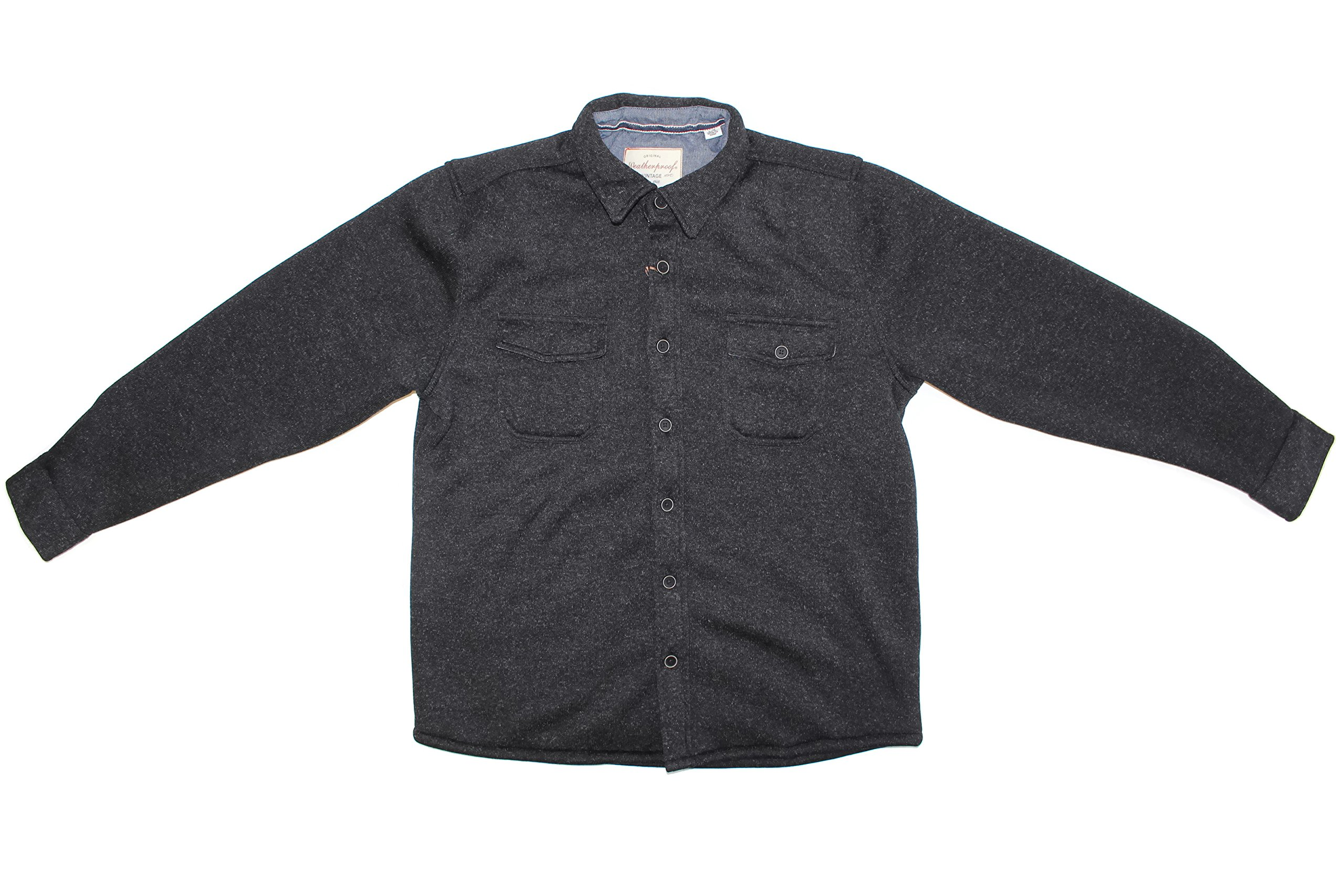 Weatherproof Vintage Men's Sweater Fleece Shirt Black (Heather Grey, Large)