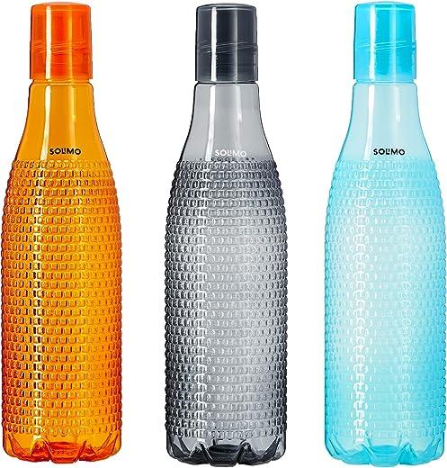 Amazon Brand - Solimo Plastic Fridge Bottle Set (3 pieces, 1L, Checkered pattern, Multicolour)