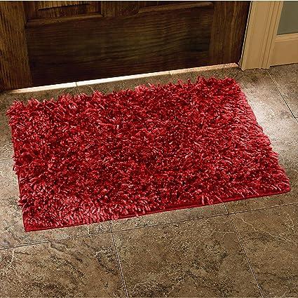 Cloth Fusion Premium Shaggy Door Mat (16 x 24)- Bloody Red