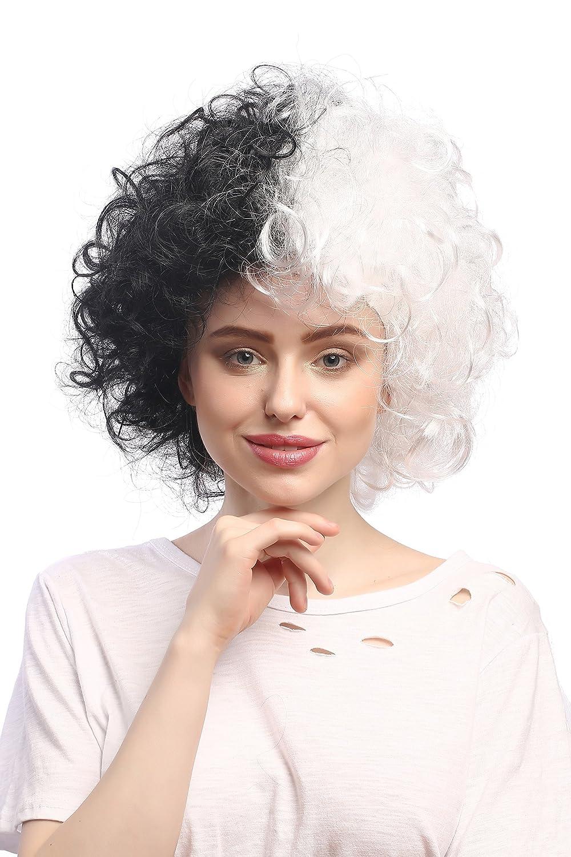 WIG ME UP ® - 91344-P103-P68 Peluca Mujeres Carnaval Halloween Rizado Afro fregona voluminosos, Mitad Blanco y Negro Bicolor, Frankenstein: Amazon.es: ...