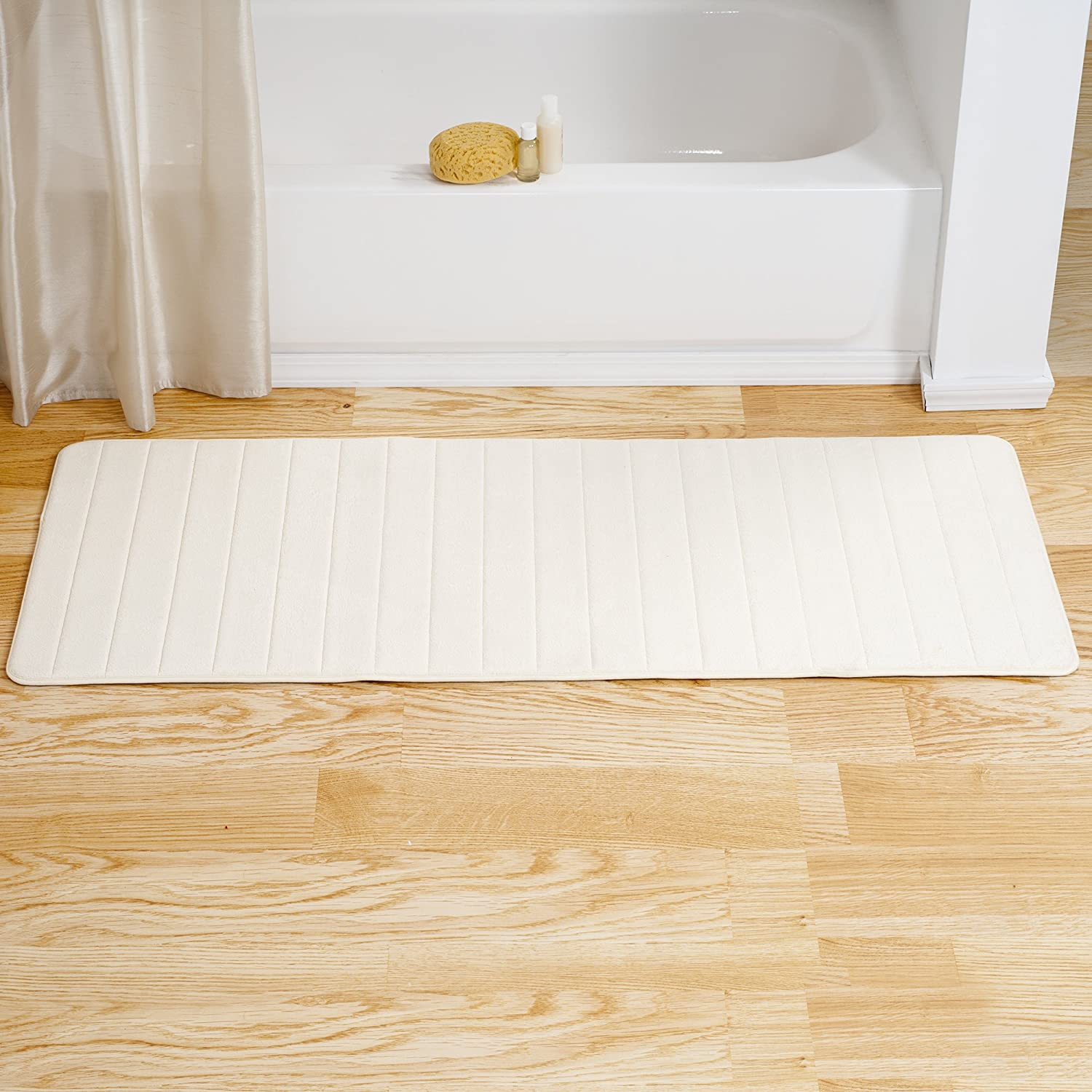 "Lavish Home Memory Foam Striped Extra Long Bath Mat, 24 by 60"", White"