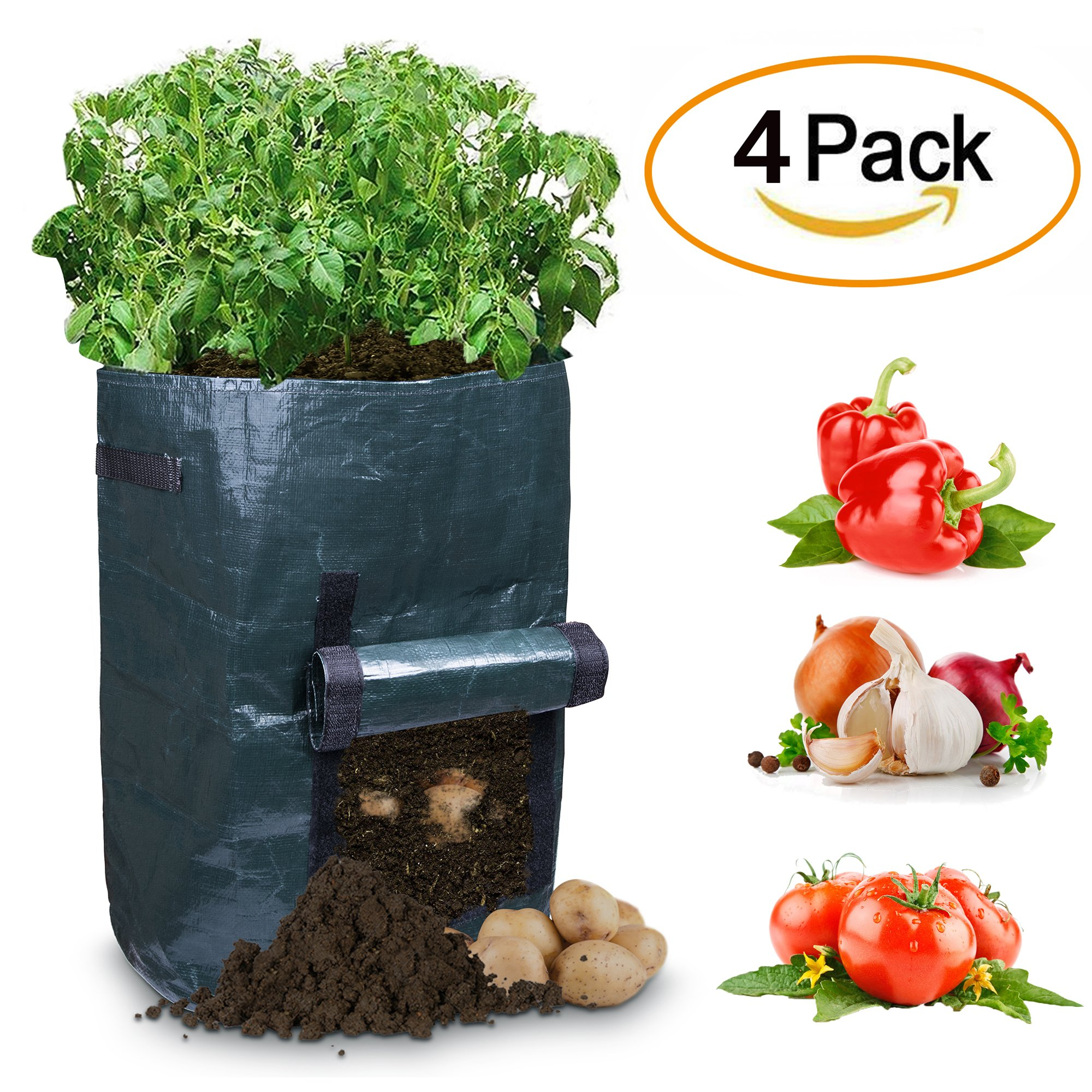 Garden Potato Grow Bags with Flap and Handles Aeration Fabric Pots Heavy Duty 10 Gallon,Portable Durable Home Farm Planter Planting Black Bag for Potato,Carrot,Onion & Vegetables Plant (4 Pack)