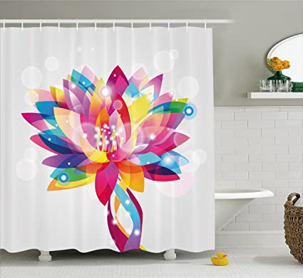 Ambesonne Lotus Shower Curtain Rainbow Colored Petals In Vibrant Hippie Color Tones Mystic Purity