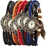 6 Pcs Lot Wholesale Vintage Wrap Around Women's Bead Leaf Bracelet Quartz Watch LOTW047