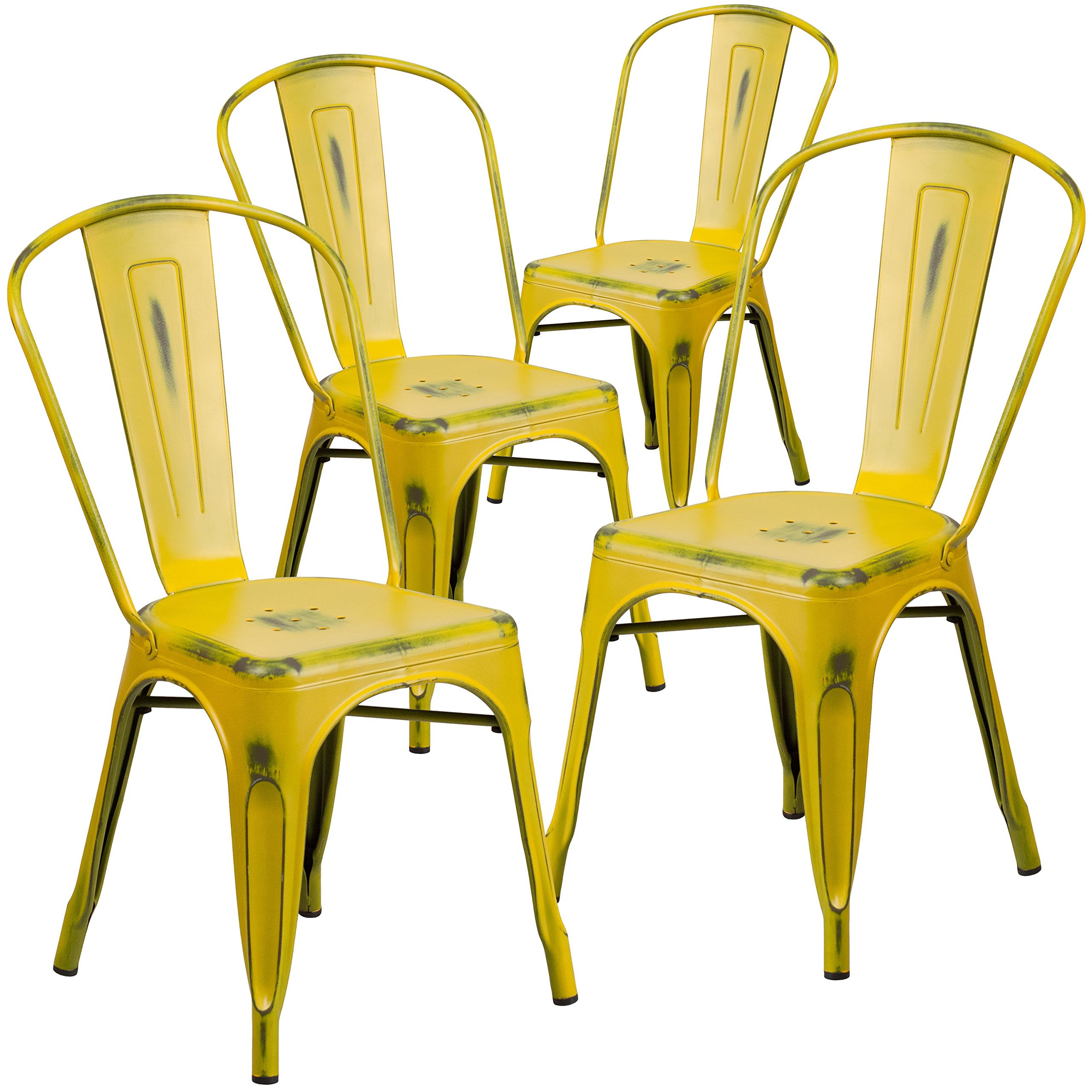 Flash Furniture 4 Pk. Distressed Yellow Metal Indoor-Outdoor Stackable Chair by Flash Furniture