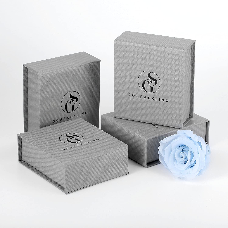 GOSPARKLING Chasis Drod Ensemble plaqu/é Or Rose avec Un Cristal Autrichien Bleu Zicrone