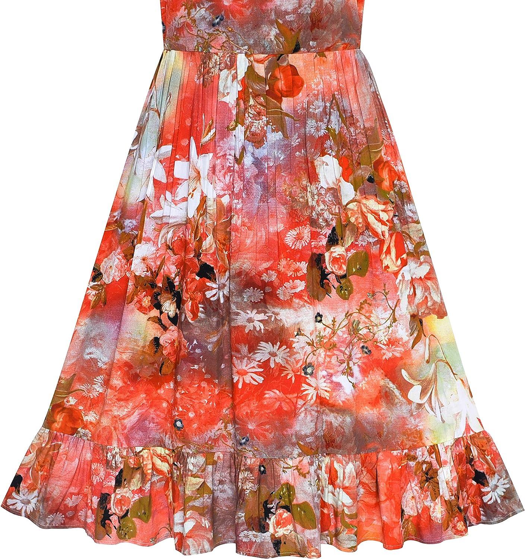 Sunny Fashion Vestito Bambina Floreale Cotone Casuale Estate Spiaggia Sole 6-12 Anni