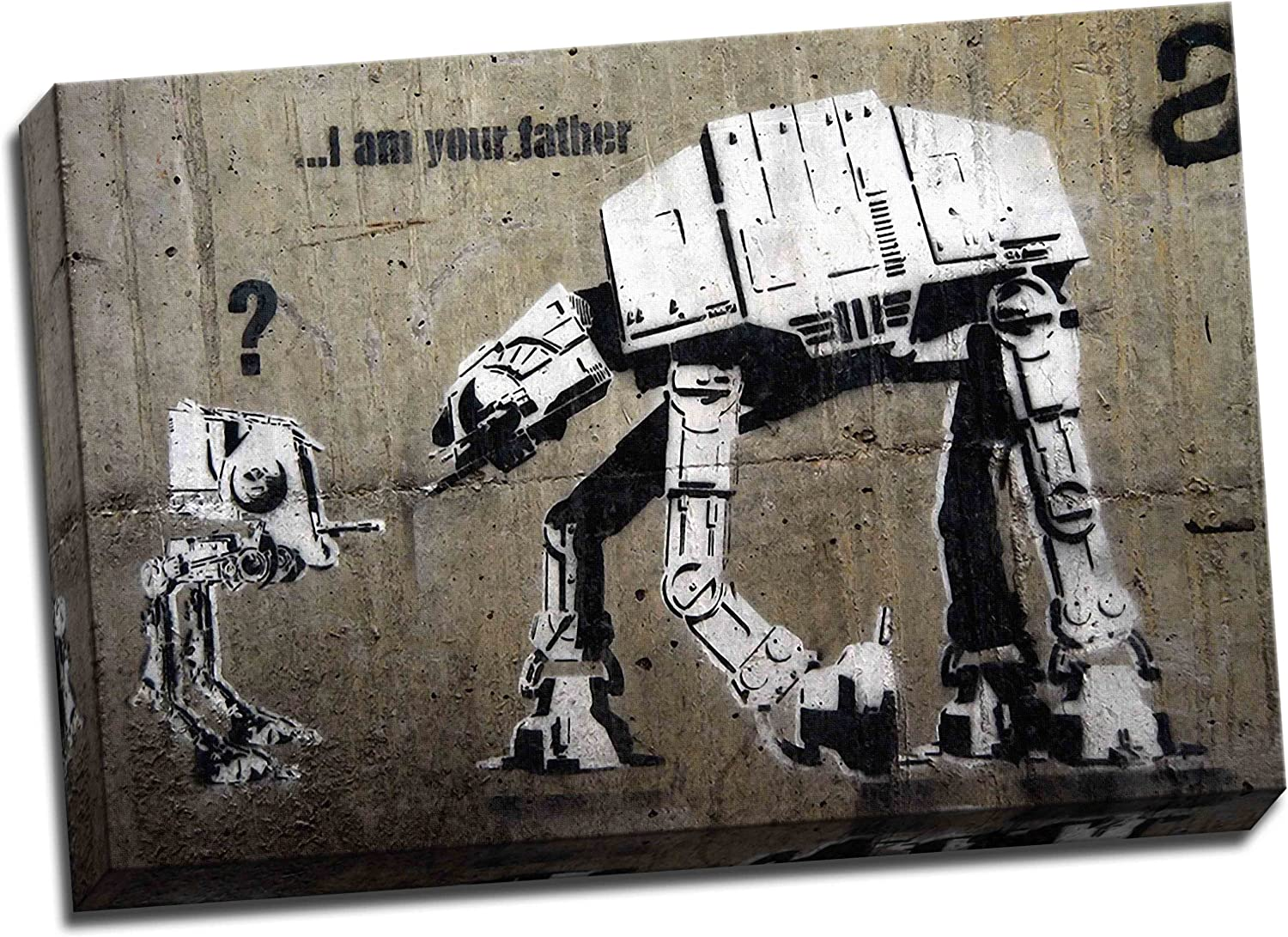 "Archival Canvas Print 30/""x20/"" Star Wars Banksy I am Your Father"