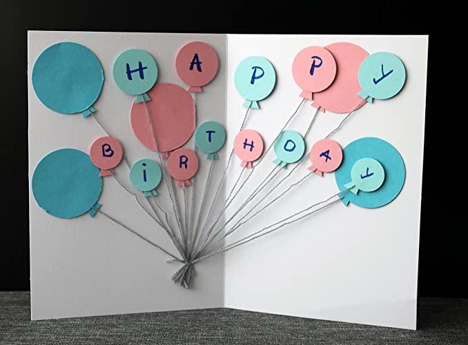 Amazon Com Balloons Birthday Card 3d Happy Birthday Card