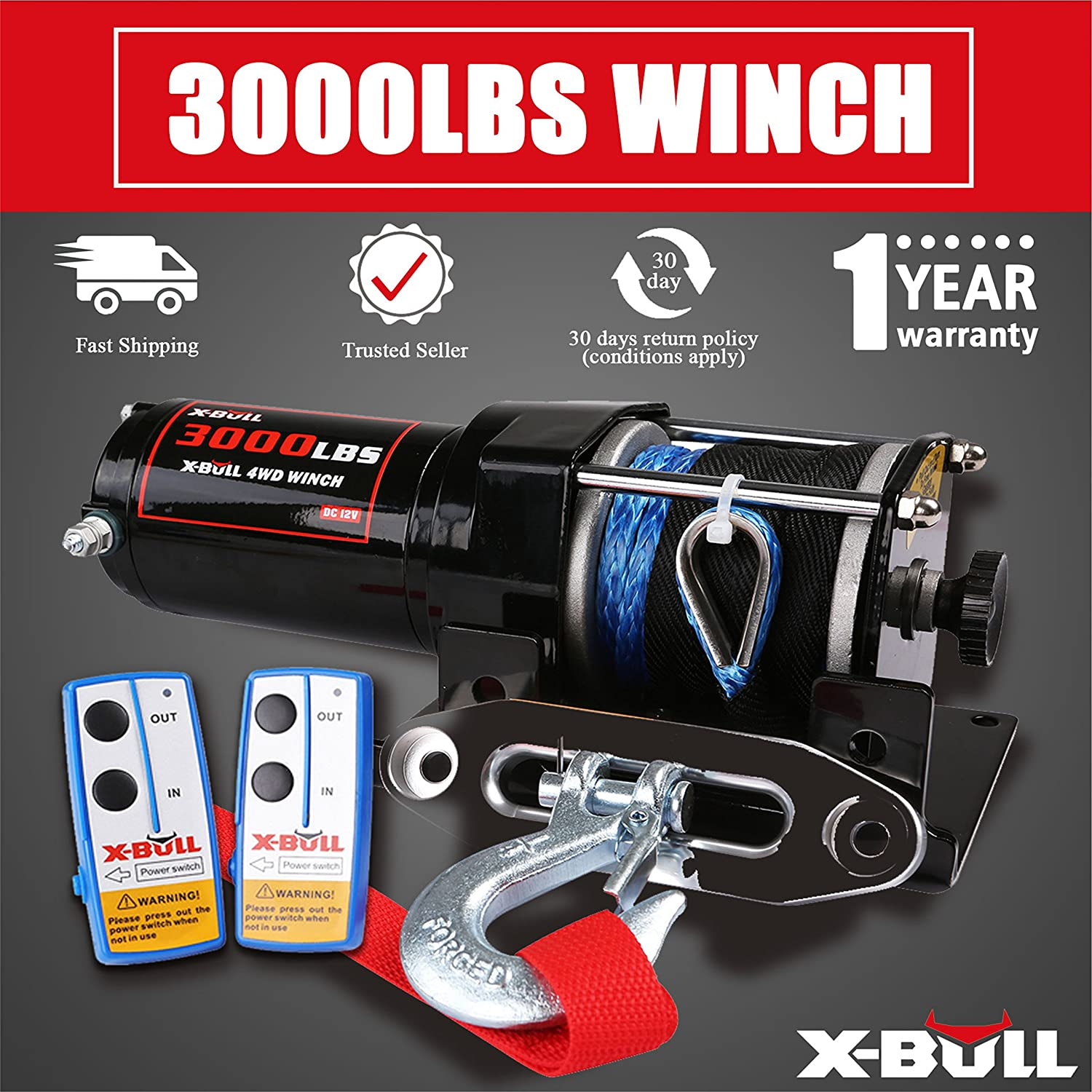 X Bull 12v 3000lbs 1361kgs Electric Winch Synthetic Rope Champion 3000 Wiring Diagram 10meter Wireless Atv 4wd Home Improvement