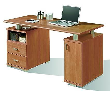 Scrivania da ufficio o studio color ciliegio con due cassetti e