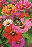 Decorative Zinnia Butterfly Honeybee Garden Flag Colorful Spring Summer Blooms Double Sided 12.5'' X 18''