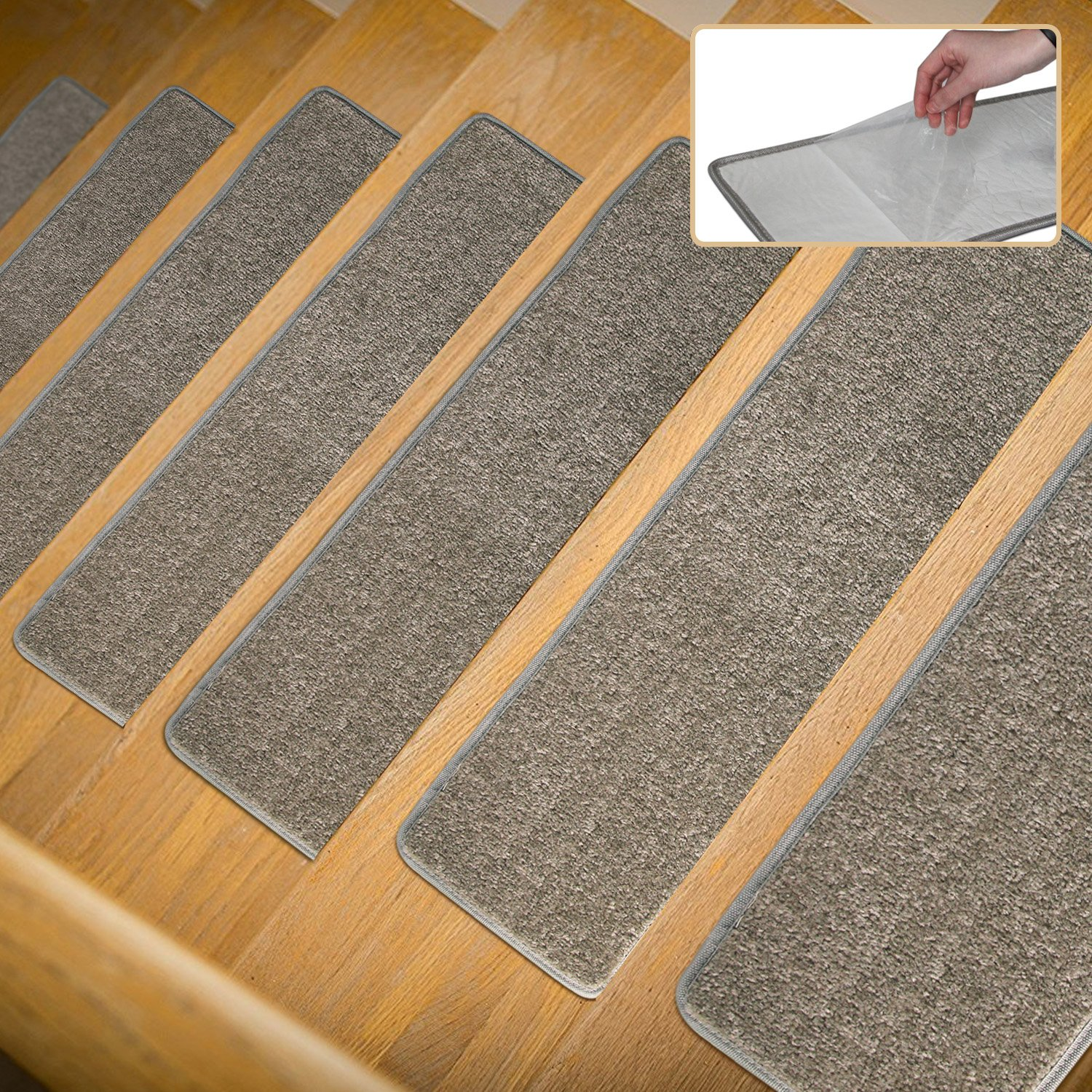 Clever.P.T Stair Carpet Treads 1 Piece Indoor Self Adhesive Skid Resistant Stair Treads Rugs Mats Rubber Backing (8 inch x 30 inch),Light Grey